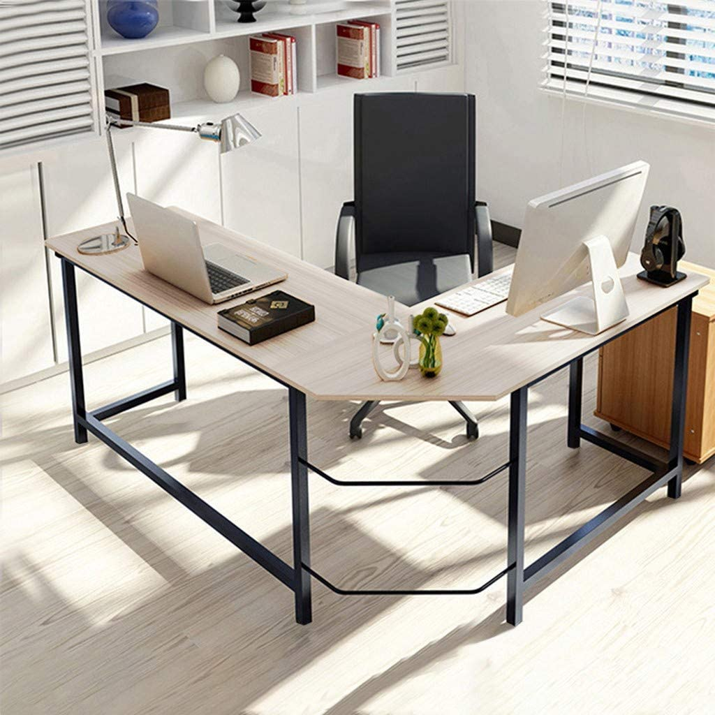 (US in Stock) Modern L-Shaped Desk Home Office Corner Computer Desk Study Workstation Table Wood Steel PC Laptop Gaming Table (White)