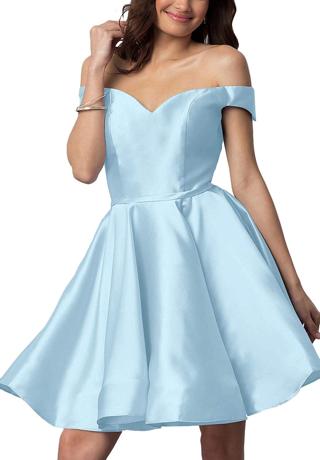 Ice bluee YnanLi Dress Short Off Shoulder Homecoming Dresses for Junior Cocktail Ball Gown with Pocket