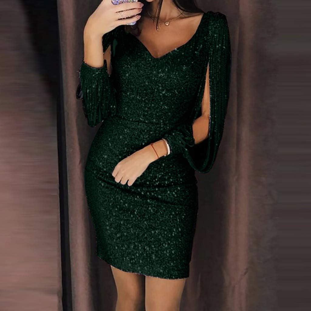 Donna Vestito con Paillettes Abito Scollo V Donna Vestito da Estate Manica Lunga VICGREY Vestito Donna Elegante