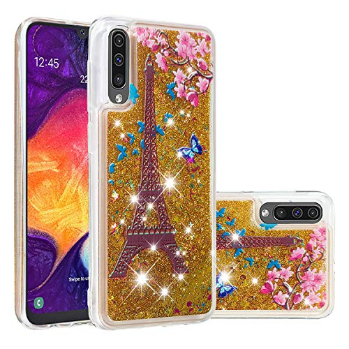 Miagon Liquid Clear Case for Samsung Galaxy A50,Soft Glitter Shockproof Cover Floating Bling Sparkle Shiny Heart Quicksand Liquid Clear Protective Case Cover-Tower Flower