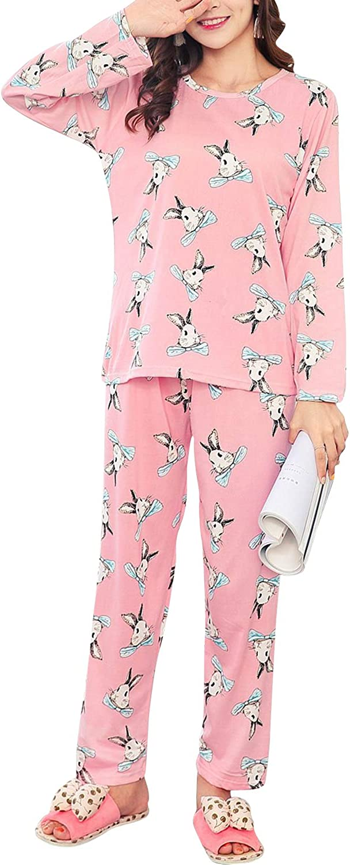 ASHER FASHION Women Pajamas Cute Striped Bear Sleepwear Long Sleeve Stripes Loungewear