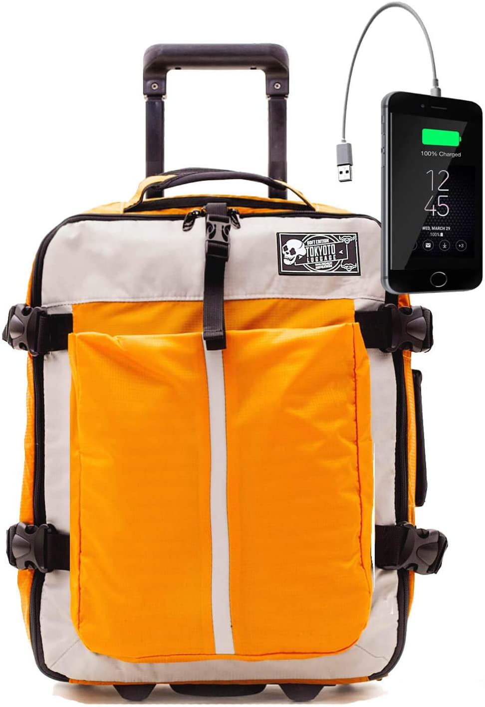 Maleta de Cabina Equipaje de Viaje de Mano Maleta Blanda de Nylon Duffel para Ryanair Easyjet 55x35x20 Trolley Juvenil by TOKYOTO Luggage 52cm Soft Yellow (Maleta + Cargador)