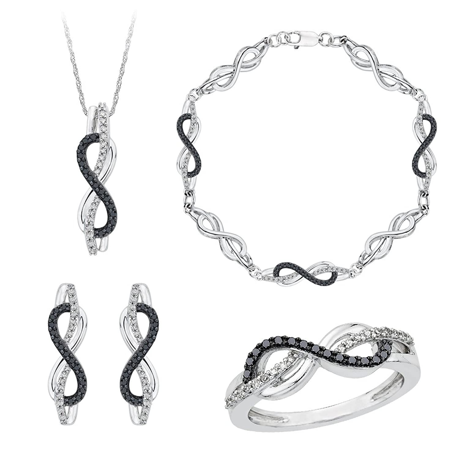 Amazon Infinity Black and White Diamond Jewelry Set in
