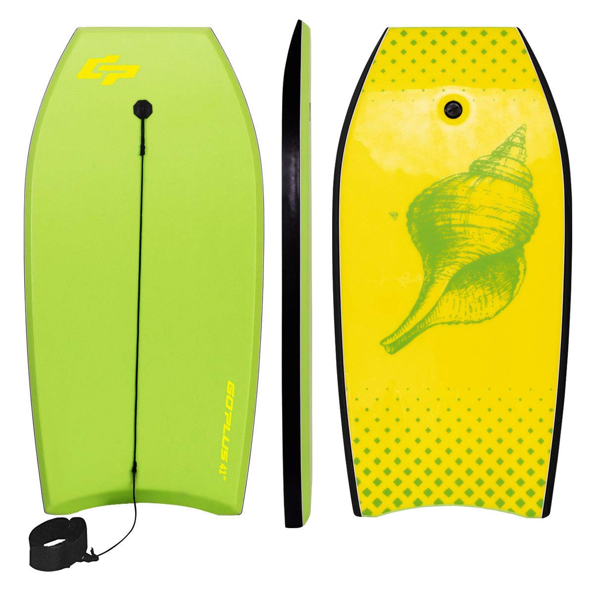 Goplus 41 inch Super Bodyboard Body Board EPS Core, IXPE Deck, HDPE Slick Bottom with Leash, Light Weight Perfect Surfing for Kids and Adults (Yellow Green) by Goplus