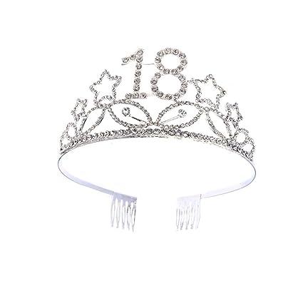 Lurrose Corona Cumpleaños 18 Años Diadema Cumpleaños Tiara Cristal con Peineta Accesorio de pelo para Chicas (Plateado)