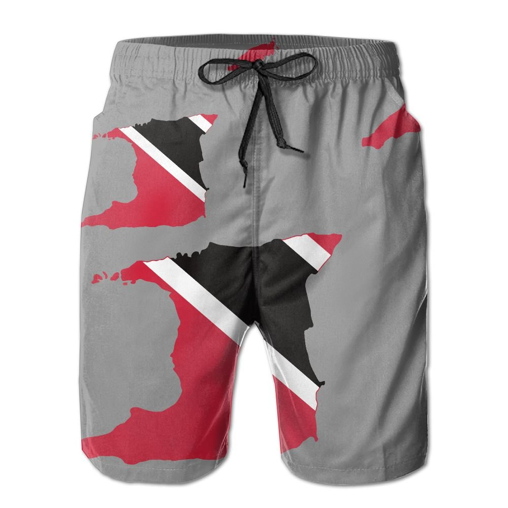 J,CORNER Mens Flag Map of Trinidad and Tobago Summer Holiday Swim Trunks Beach Shorts Board Shorts Large