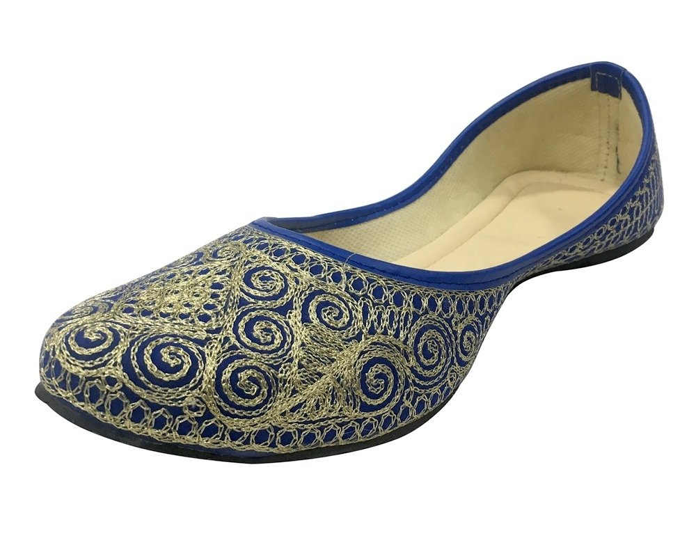 Step n Style Indian Wedding Shoes Khussa Shoes Blue Punjabi Jutti Mojari Traditional Shoe