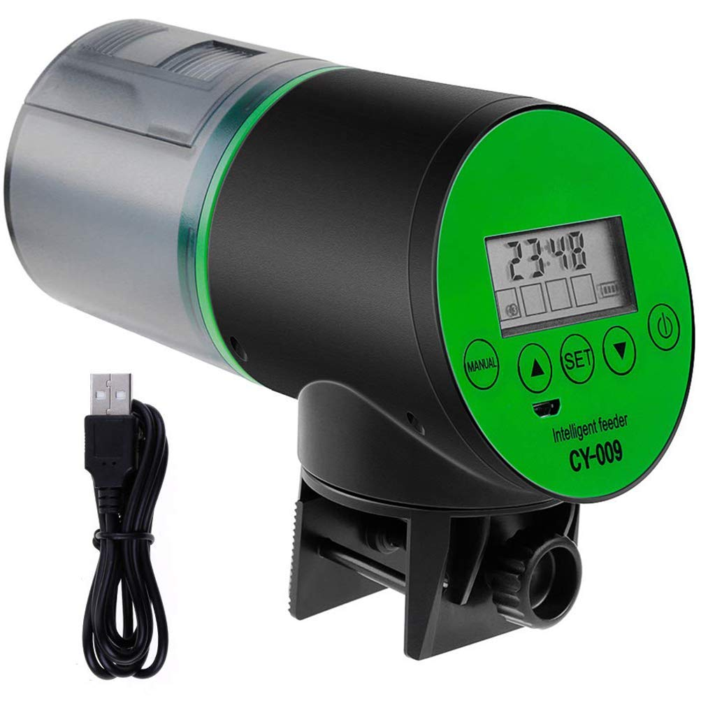 Automatic Fish Feeder - Rechargeable Timer Fish Feeder with USB Charger Cable and LCD Display Fish Food Dispenser,for Aquarium Fish Tank or Hamster Cage