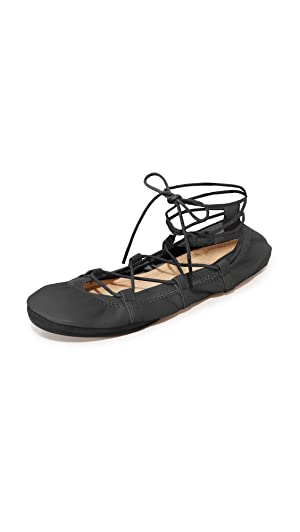 Yosi Samra Women's Seleste Lace Up Flats, Black, 11 B(M) US