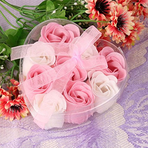 Fullfun Heart Shaped Gift, Bath Body Petal Rose Flower Scented Soap, Wedding Decoration (7) ()