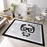 dream_home Cartoon Play Rug Panda - Playroom Mats Chic Carpets Adult Twin Size with Sides Kids Toddlers
