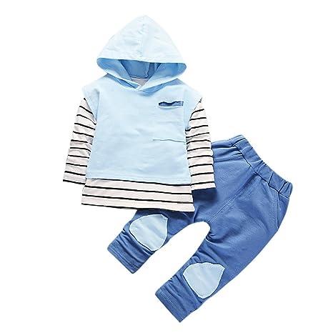 Feixiang Los niños pequeños Usan Ropa de niños y niñas con Capucha Camiseta de Rayas Tops