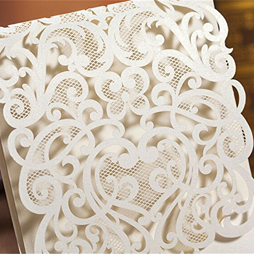 Hollow White Wedding Invitations Elegant Laser Cut Birthday Party Banquet Celebration Cardstock with Rhinestone CW5001 (100) by Wishmade (Image #4)