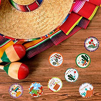 Outus 800 Pieces Mexican Fiesta Party Stickers Round Circle Labels with 8 Patterns for Mexican Cinco De Mayo Festival Decorations Party Supplies: Toys & Games