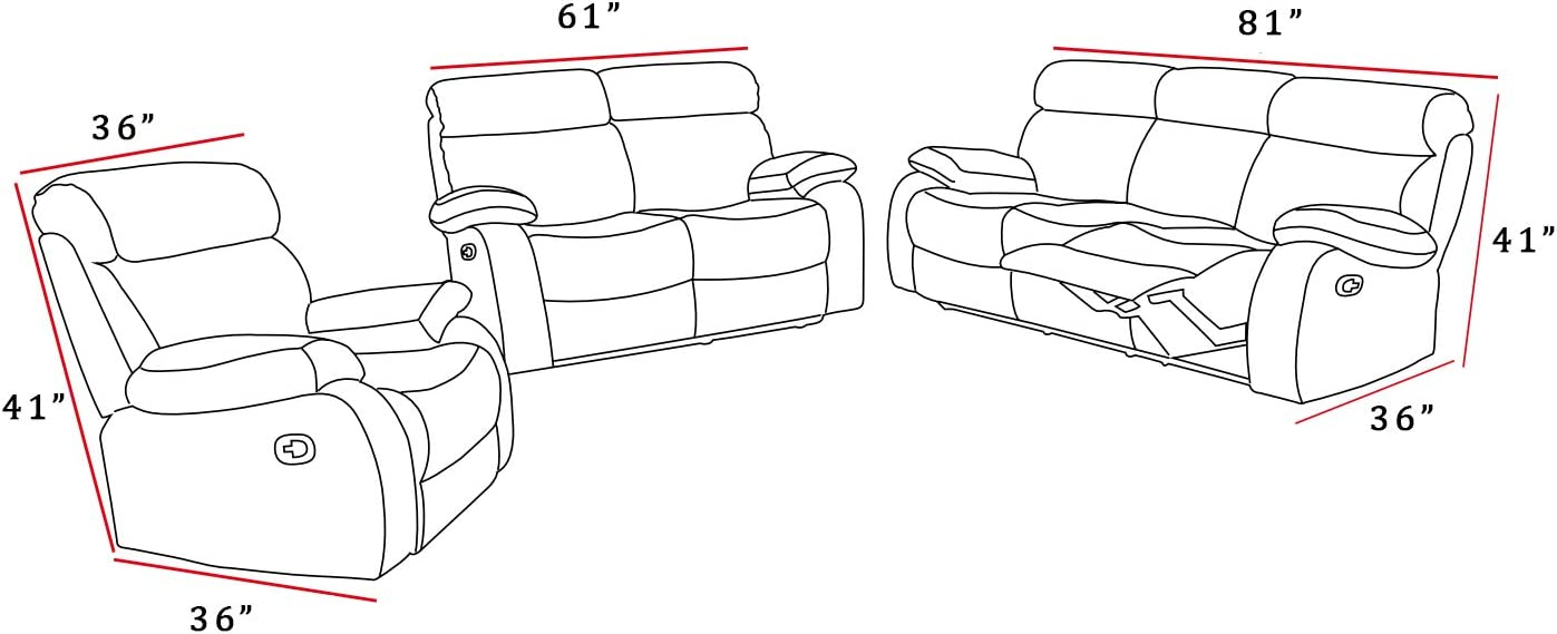 Lifestyle Furniture 3-Pieces Reclining Living Room Sofa Set