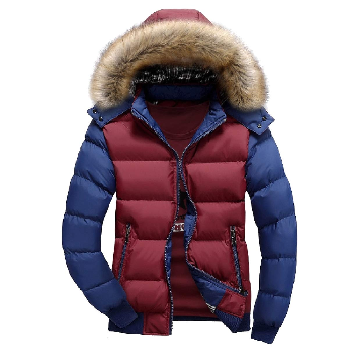 YUNY Mens Winter Contrast Detachable Hoodie Quilted Jackets Coat Red S