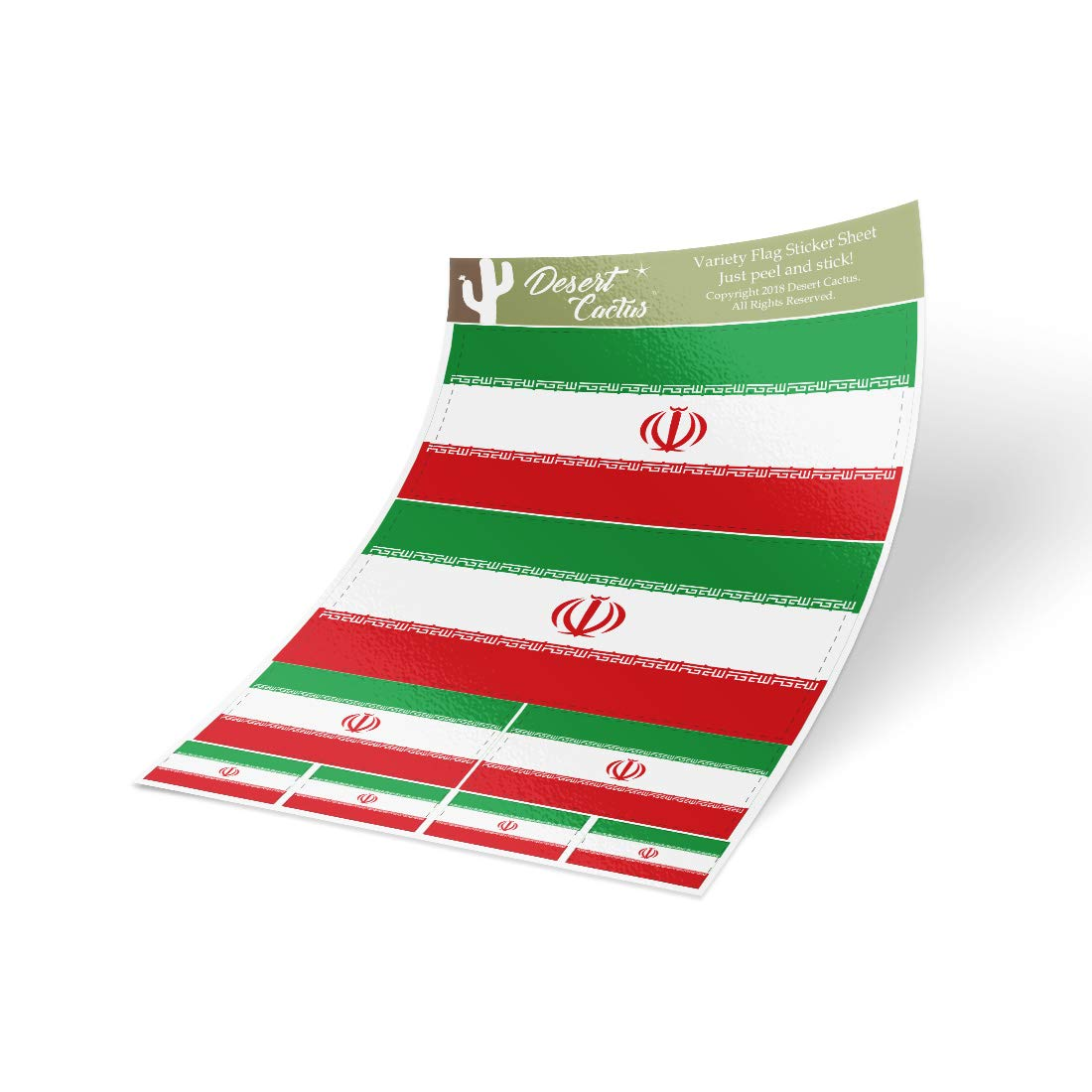 Desert Cactus Iran Country Flag Sticker Decal Variety Size Pack 8 Total Pieces Kids Logo Scrapbook Car Vinyl Window Bumper Laptop V