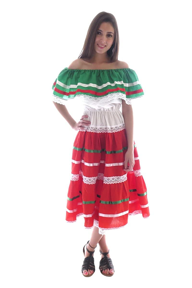 Women's Fiesta Green/White/Red Cotton Poplin Mexican Dress - DeluxeAdultCostumes.com
