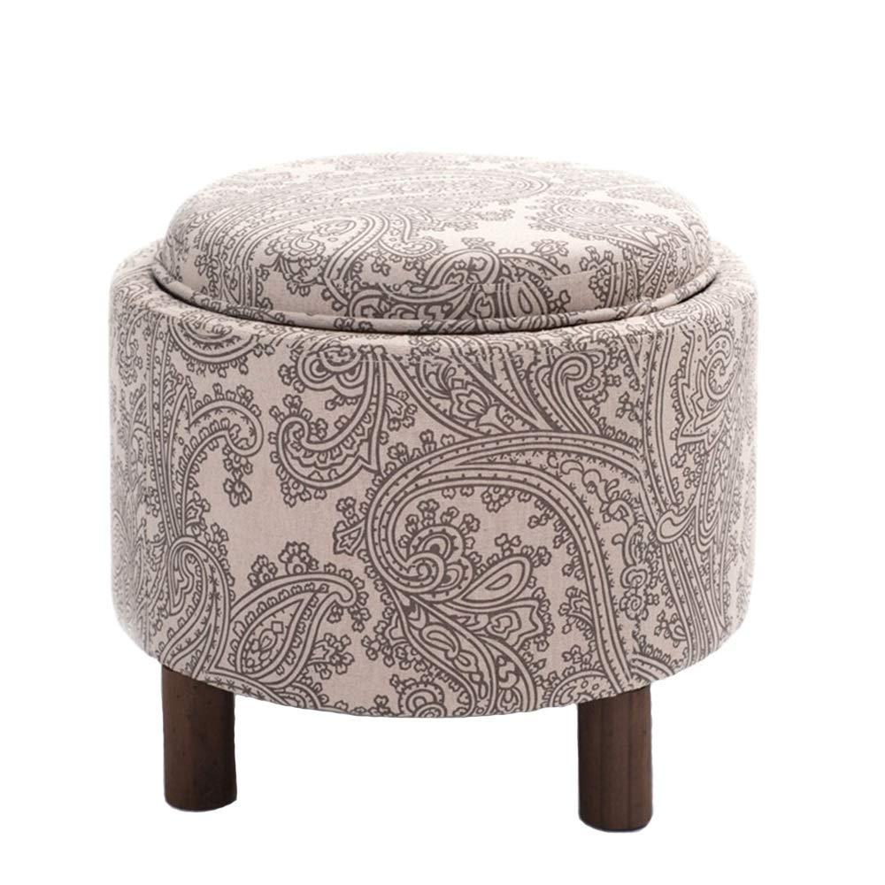A Wei Zhe- Storage Stool Solid Wood Stool Fabric Simple Modern shoes Bench Leisure Sofa Chair-49  49  42cm Household Storage Stool (color   A)