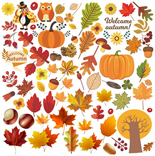 Thanksgiving Decorations Fall Leaves Window Clings Decor - Autumn Maple Decorations Static Sticker Decals Party Decor Ornaments, Reusable Autumn Party Supplies 144PCS