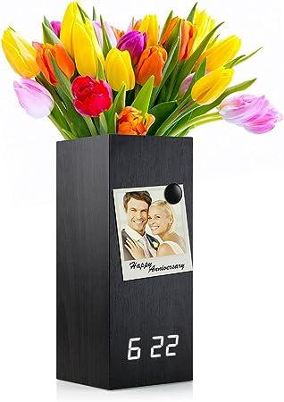 New Wood Alarm Clock Modern Digital Wooden LED Desk Clock with Flower Plant Vase