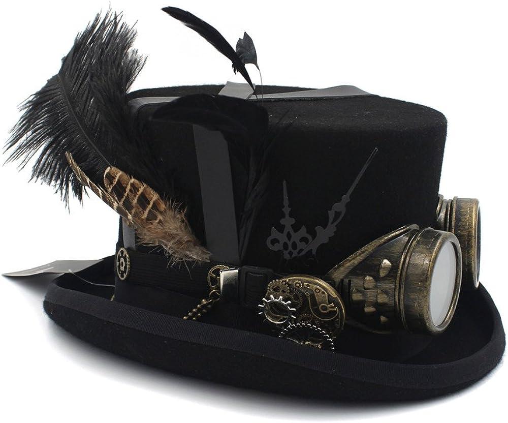 Wanzheronya Sombrero Steampunk Top Hat Lana DIY Fedora para Mujeres Hombres Sombrero Steampunk Gafas