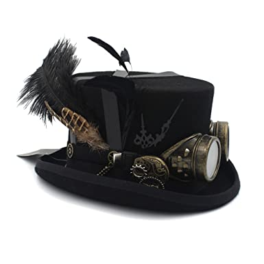 Amazon.com  Wool DIY Fedora Steampunk Top Hat for Women Men Hat Millinery  Steampunk Goggles  Clothing eb8e306d458