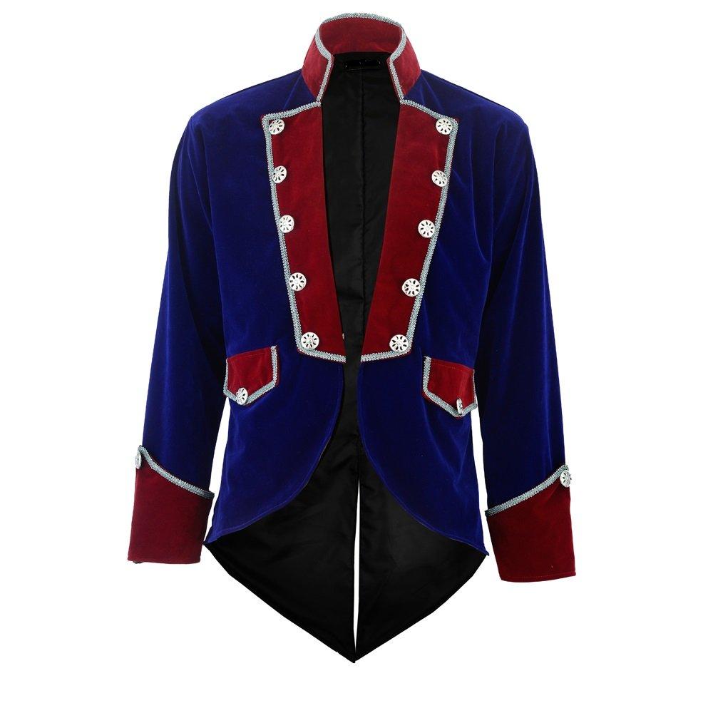 Darkrock New Men's Velvet Vladimir Tuxedo Jacket Tailcoat Goth Steampunk Victorian (Large, Blue)