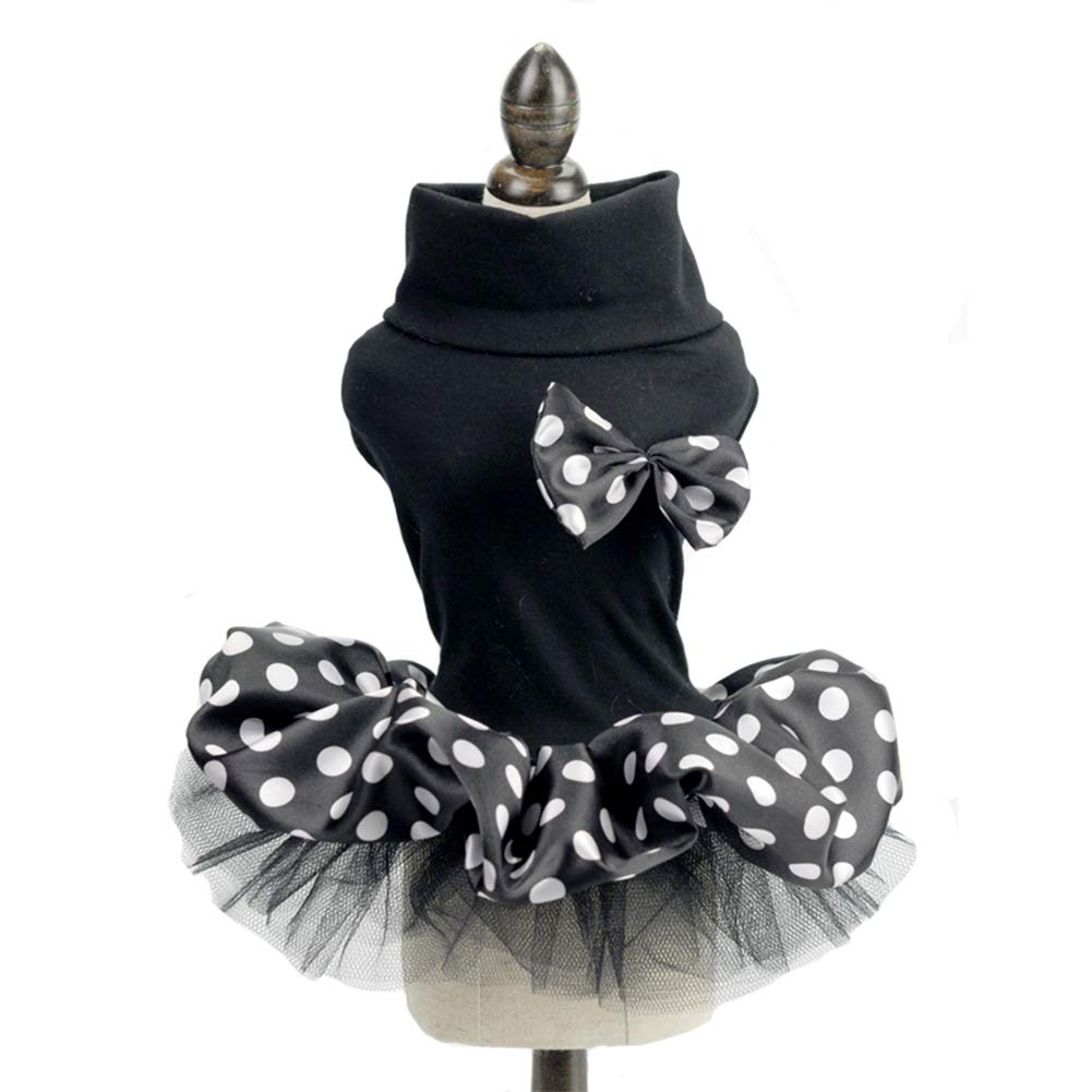 Black S Black S Dog Dress Black and White Spots and Bows for Summer Small Dog Princess Dress Cat Bow-Knot,Black,S