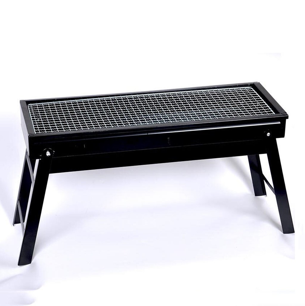 ALUS- Outdoor Home Iron Barbecue Equipment Portable Folding Carbon Grill Charcoal Barbecue Machine Black Strip Oven (602333CM) (Barbecue + 6 Accessories)