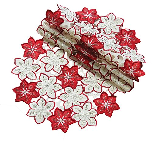 Xia Home Fashions Candy Cane Poinsettia Embroidered Cutwork Christmas Doilies, 8-Inch Round, Set of 4