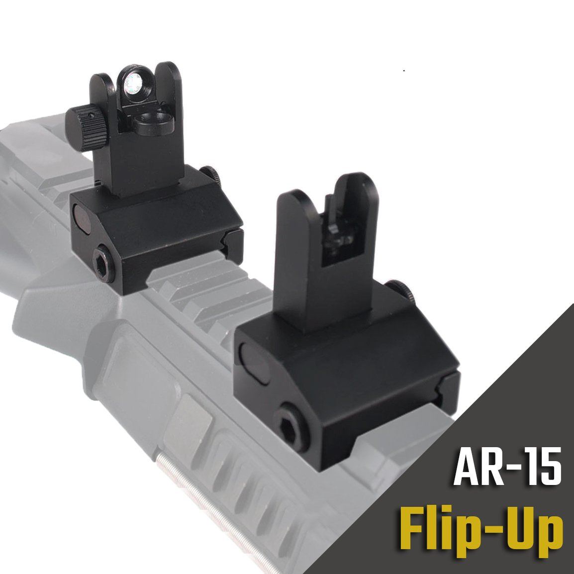 Hojan Sports Reinforced Low-Profile Rapid Transition Flip-Up Front and Rear Backup Iron Sights BUIS for Standard Picatinny Mount Co-Witness Aperture Sight