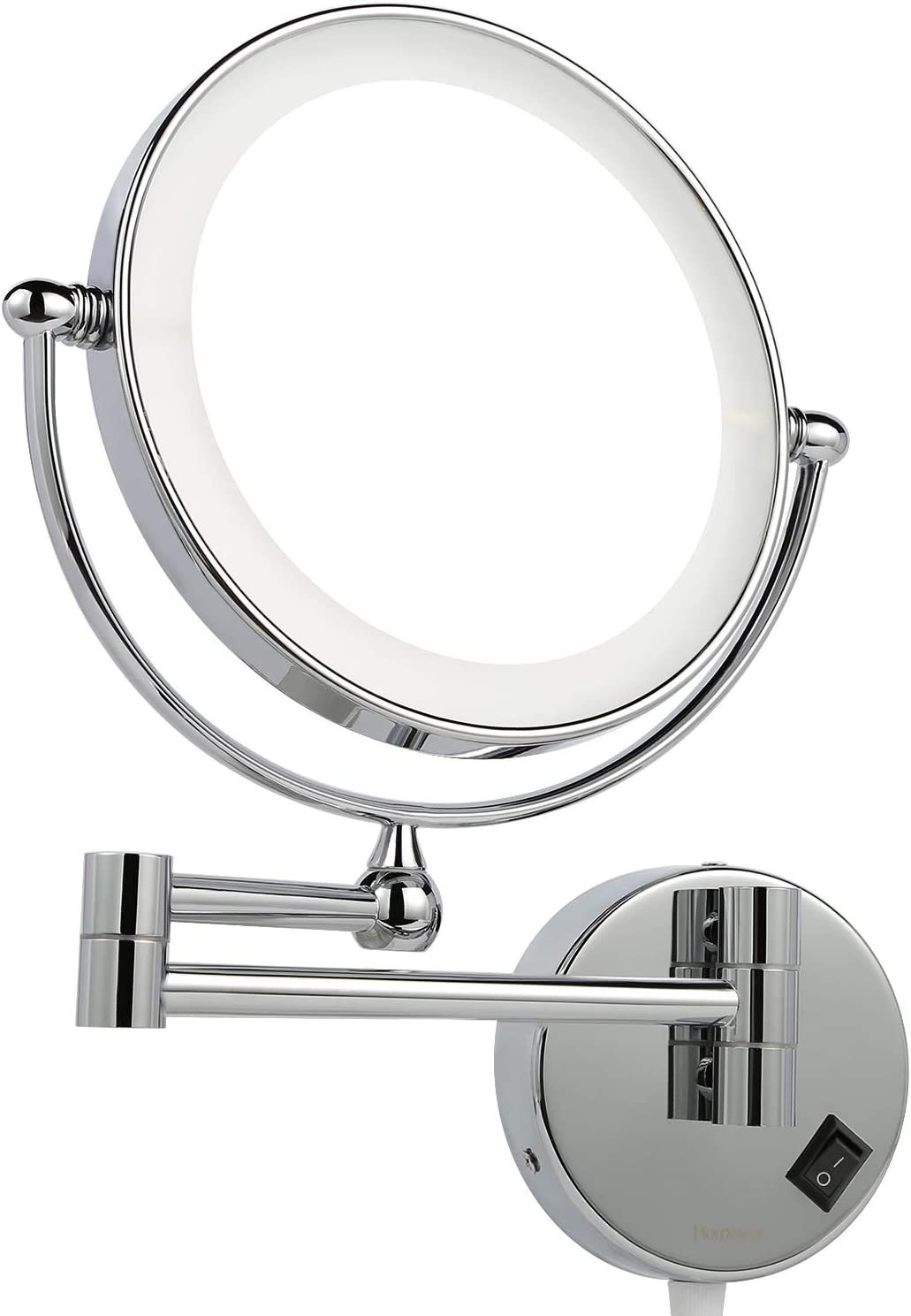 Homever Wall Mounted Makeup Mirror LED Lighted with 1x/5x Magnification, Round Shaped Double-Sided, 360° Free Rotation, Extendable and Chrome Finished for Bathroom, Spa and Hotel