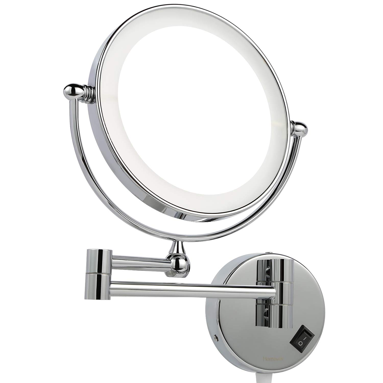 Homever Wall Mounted Makeup Mirror LED Lighted with 1x/5x Magnification, Round Shaped Double-Sided, 360° Free Rotation, Extendable and Chrome Finished for Bathroom, Spa and Hotel by Homever