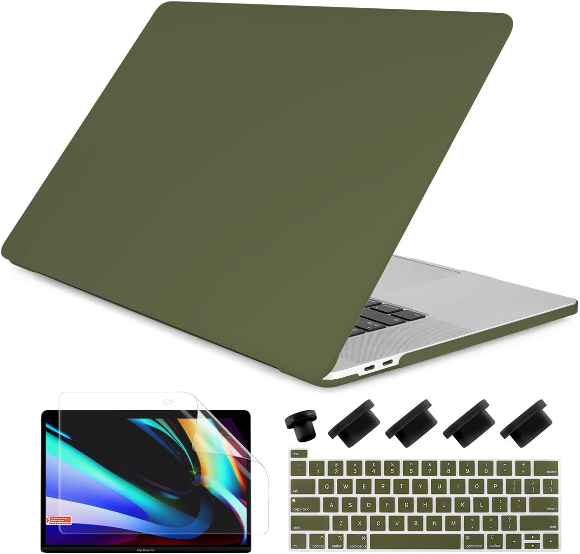Dongke MacBook Pro 13 2020 Case Model A2251/A2289, Plastic Smooth Frosted Hard Shell Cover Case for MacBook Pro 13 inch with Retina Display and Touch Bar Fits Touch ID, Army Green