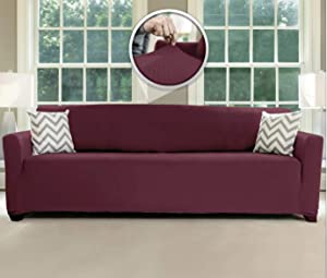 Sofa Shield Original Fitted 1 Piece X-Large Oversized Sofa Protector, Many Colors, Seat Width to 78 Inch, Stretchy Furniture Slipcover, Fastener Straps, Spandex Couch Slip Cover for Dogs, Burgundy