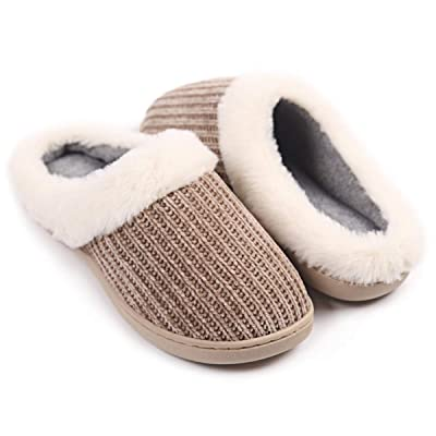 Women's Fuzzy Plush House Slippers Warm Memory Foam Winter Bedroom Shoes | Slippers
