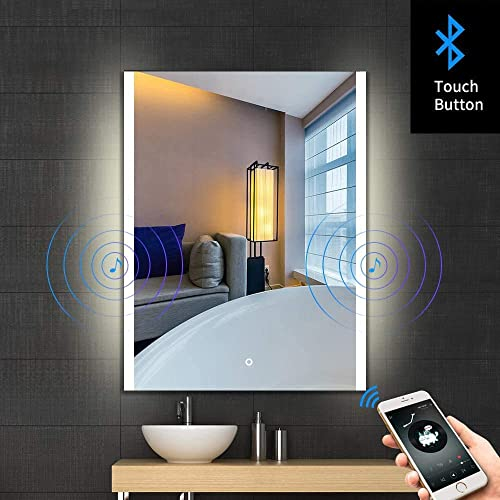 S BAGNO 32×24 Inch Bathroom Illuminated LED Lighted Vanity Mirror, with Built-in Bluetooth Speaker, Dimming Function, Anti Fog and Touch Sensor Switch