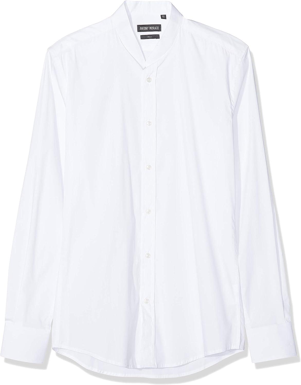 Antony Morato Camicia Manica Lunga Collo Coreano Camisa Casual, Blanco (Bianco 1000), X-Small (Talla del Fabricante: 44) para Hombre: Amazon.es: Ropa y accesorios