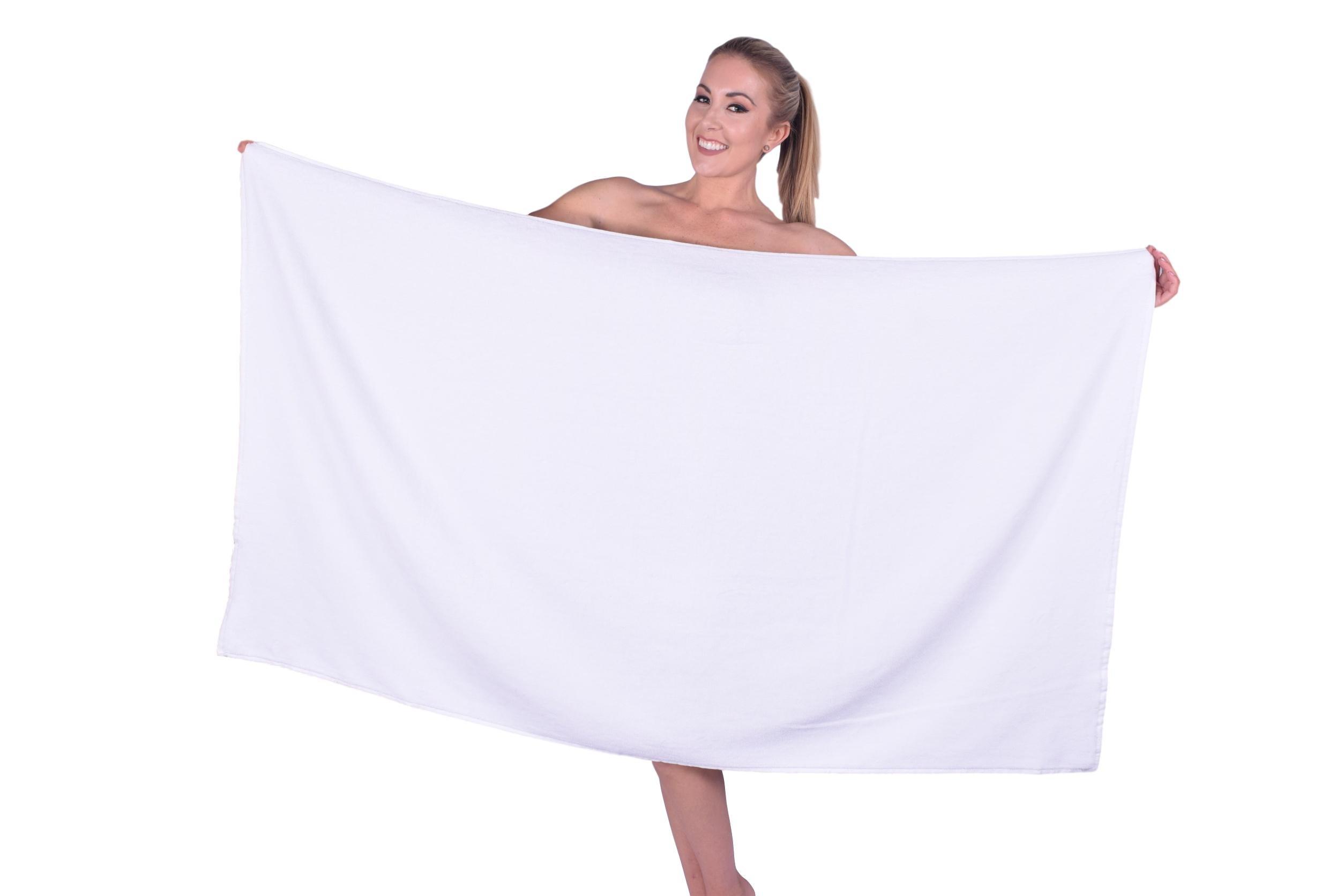 Puffy Cotton Luxury Plush Velour Large Bath Towel (Hotel, Spa, Bath) - Beach Towel, Super Soft and Absorbent (White, 3)