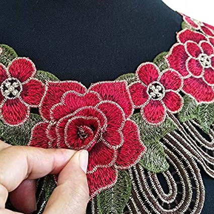 1Pc Red//Purple Gules Brown//Pink Color Venise Lace Fabric Dress Applique Motif Blouse Sewing Trims DIY Neckline Collar Costume Decoration Accessories