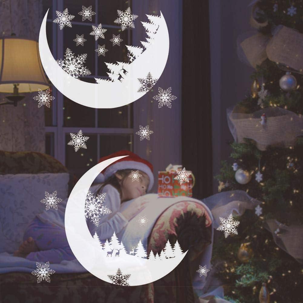Waroomss 2020 Vinilos Decorativos Guirnalda De Navidad Aplique De Secci/ón De Ventana Vinilo Decorativo De PVC Para A/ño Nuevo Arte De Nieve De Navidad Decoraci/ón Navide/ña De A/ño Nuevo