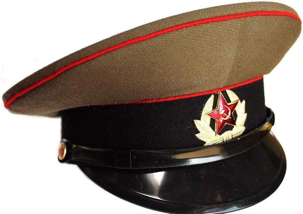 Sombrero Militar del ejército soviético/USSR/Gorra Original + Insignia de Estrella roja soviética, tamaño Ruso 56 (EE. UU. 7): Amazon.es: Ropa y accesorios