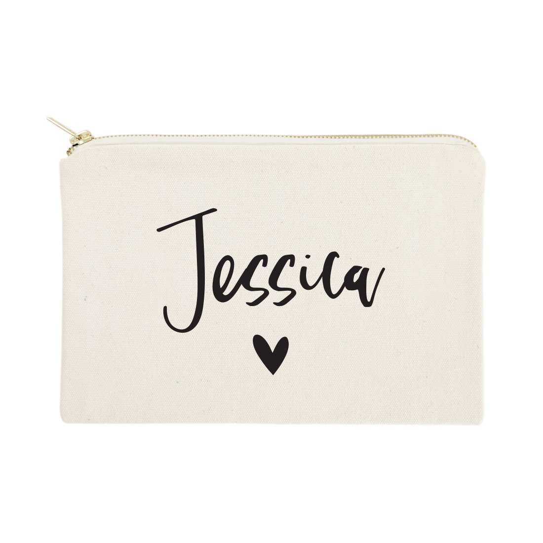 The Cotton & Canvas Co  Personalized Name Heart Cosmetic Bag and Travel  Makeup Pouch