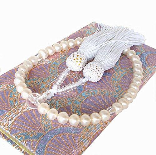 本真珠 数珠 念珠 淡水真珠 専用ケース付き 房の色 白 片手数珠 女性用 パール念珠 パール数珠 すべての宗派で使えます B003UF050W