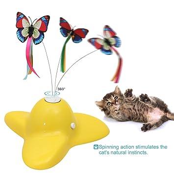 POPETPOP Juguete Interactivo de Gato Mariposa Giratoria Juguete Electrónica (Amarillo)