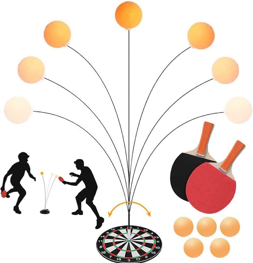 NA Entrenador De Tenis De Mesa, con Eje Suave EláStico, 2 Paletas De Ping Pong De Madera, 5 Pelotas, Dispositivo Flexible De Rebote RáPido, para Ejercicio Personal/Doble