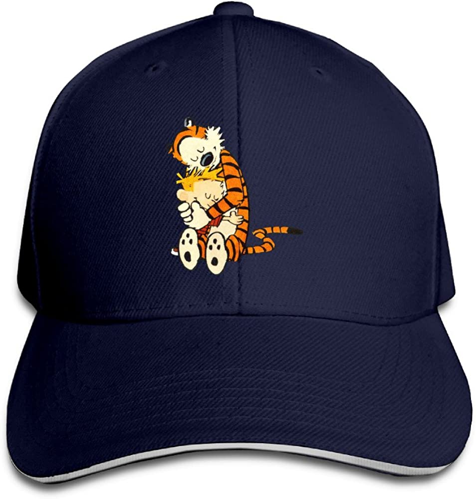 Style Sandwich Bill Cap Calvin and Hobbes Tiger Together Visor Caps