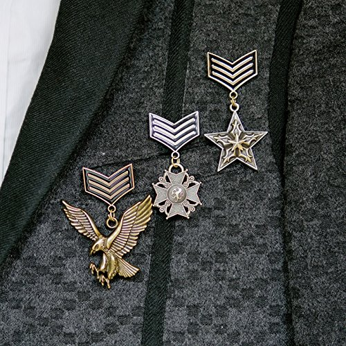 The new Europe and America British retro five-pointed star badge Spike horn bow brooch clock Eagle (Spike Clock)