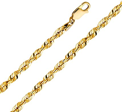 GoldenMine Fine Jewelry Collection 14k Yellow Gold 3.5mm Hollow Mariner Chain Necklace